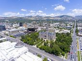 Aerial View Of Salt Lake City And County Building In Salt Lake City, Utah, Usa. This Building Was Bu poster