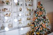 The Bedroom Decorated For Christmas. Cozy Home Interior. New Year Decoration. White Room With Large  poster