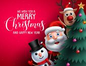 Merry Christmas Greeting Text And Christmas Characters Like Santa Claus, Reindeer And Snowman Waivin poster