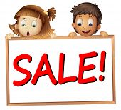 illustration of a kids showing sale board on a white