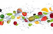 pic of mandarin orange  - Fresh fruits falling in water splash - JPG