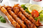 picture of souvlaki  - Grilled meat and vegetables - JPG
