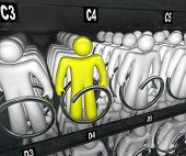 Many people in a snack vending machine symbolizing choice and selection and standing apart as differ