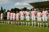 KAPOSVAR, HUNGARY - JULY 21: Tirgu Mures team before the VIII. Youth Football Festival U14 match Tir