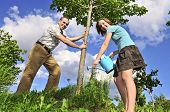 picture of planting trees  - Father and daughter watering a young tree - JPG