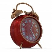 3D vintage alarm clock...Isolated white background.