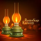 Muslim Oil Lamp - Pelita Translation: Ramadan Kareen - May Generosity Bless You During The Holy Mont