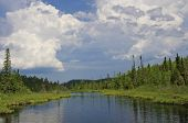 stock photo of thunderhead  - thunderheads tower over bogenho lake off the gunflint trail in northeastern minnesota - JPG