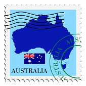 stamp with map and flag of Australia