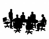 stock photo of clip-art staff  - staff meeting or board meeting in sillotte - JPG