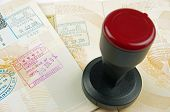 passport pages and rubber stamp
