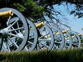 stock photo of revolutionary war  - A row of Revolutionary War canons in Valley Forge National Historic Park - JPG