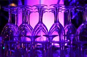 Purple Hued Stack Of Wine Glasses