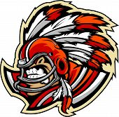 American Football Indian Chief Mascot Wearing Helmet With Feathers Vector Illustration