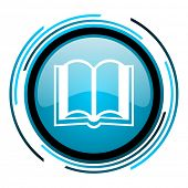 book blue circle glossy icon