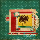 Постер, плакат: Лом морской шаблон с пляж и пальмы морских карт для ваших летних воспоминаний с фоторамкой