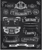 stock photo of ribbon decoration  - Hand drawn blackboard banner vector illustration with texture added - JPG