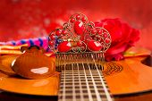 pic of castanets  - Classic spanish guitar with flamenco elements as dancer comb and castanets - JPG