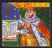 UK - CIRCA 1999: A stamp printed in UK shows image of the King James I and Bible (Authorised Version of Bible), circa 1999.