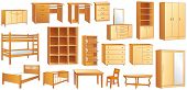 Wooden furniture set: commode, bookshelf, dresser, bunk, bed, cot, shoe case, chair, table, desk, wa