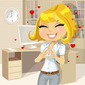 Cute blond girl clasped hands in the heart of the office