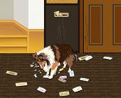 image of sheltie  - A vector drawing of a Sheltie dog biting and ripping the mail that has come into the house through the mail slot - JPG