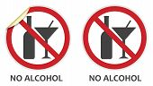 stock photo of ban  - No alcohol signs in two vector styles depicting banned activities - JPG