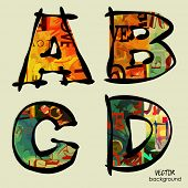 art set of sketching stylization alphabet in vector, rainbow font