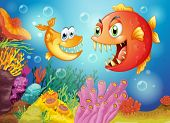 stock photo of fish pond  - Illustration of the two fishes with big fangs under the sea - JPG