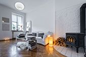 picture of lamp post  - Post modern interior design room with fireplace - JPG