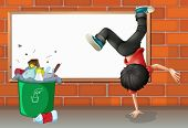 Illustration of a boy breakdancing near a trash can with an empty board