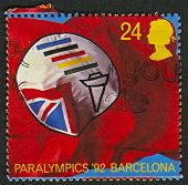 UK - CIRCA 1992: A stamp printed in UK shows image of the British Paralympic Association Symbol (Par