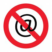pic of no spamming  - Vector illustration of a sign showing that emailing is forbidden - JPG