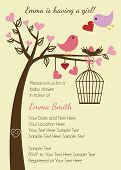 stock photo of initials  - Bird Family Baby Shower Invitation Template or Background - JPG