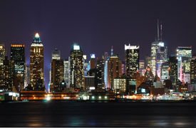 stock photo of brooklyn bridge  - New York City over the Hudson river Cityscape - JPG