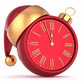 Happy New Year alarm clock bauble Christmas ball ornament decoration Santa hat icon