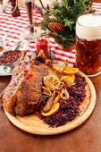picture of barbary duck  - roasted duck on Christmas table - JPG