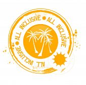 foto of all-inclusive  - Stamp All inclusive with palm tree in orange - JPG