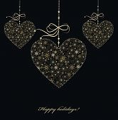 Vector_christmas Decoration With Golden Hearts