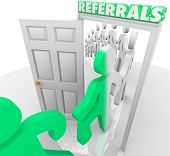 Referrals Customers Walk Through Store Doorway