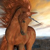 stock photo of unicorn  - A beautiful chestnut unicorn prances with its wild mane flowing and muscles shining - JPG