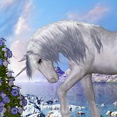 stock photo of unicorn  - A beautiful white unicorn prances with its wild mane flowing and muscles shining - JPG