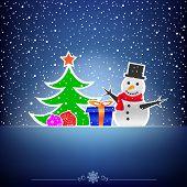 Christmas dark snow blue card