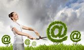 Businesswoman cutting green bush. Network and e-commerce