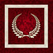 laurel wreath on damask
