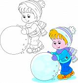 Child with a snowball