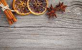 Dry Orange, Cinnamon And Star Anise With Copy Space, On Wooden Background