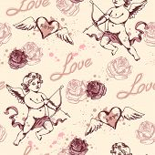Vintage Seamless Pattern With Cupid