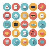 stock photo of economics  - Modern design vector illustration flat icons set with long shadow style of financial service items business management symbol banking accounting and money objects - JPG
