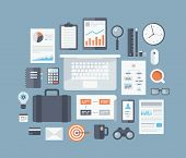 pic of graphs  - Modern design flat icons vector collection concept in stylish colors of business workflow items and elements office things and equipment finance and marketing objects - JPG